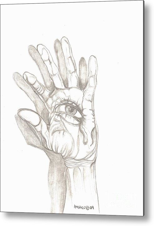 Hand Metal Print featuring the drawing Crying Hand by Americo Salazar
