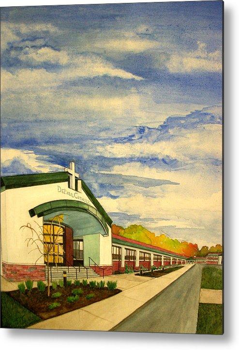 Landscape Metal Print featuring the painting Depaul Catholic by Joe Lanni