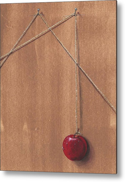 Apple Metal Print featuring the painting Detail Of Balanced Temptation. by Roger Calle