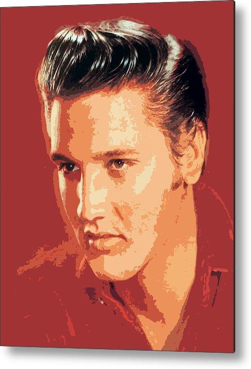 Elvis Presley Metal Print featuring the painting Elvis Presley - The King by David Lloyd Glover