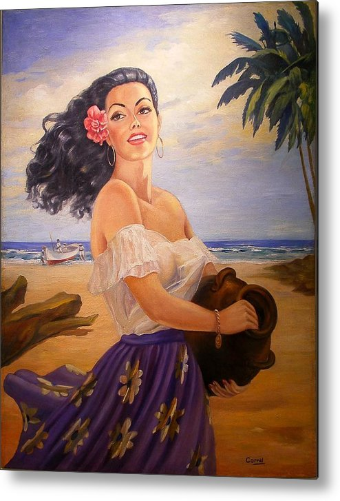Beach Metal Print featuring the painting En La Playa by Corral