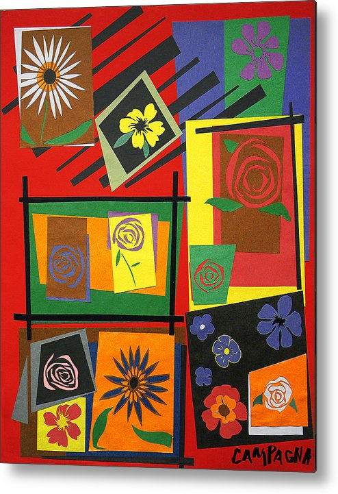 Cut Paper Metal Print featuring the tapestry - textile Flower Study 2 by Teddy Campagna