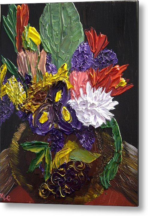 Flowers Metal Print featuring the painting Flowers For Linda by Karen L Christophersen