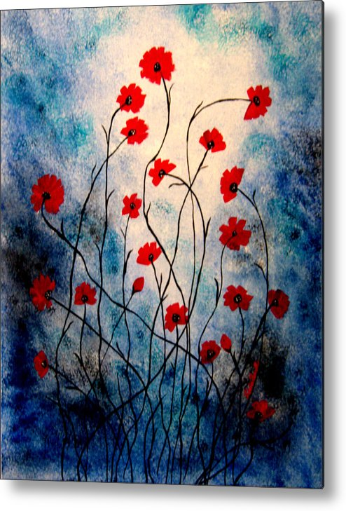 Abstract Acrylic Floral Red Poppies Blue Black White Metal Print featuring the painting Friends Too by Linda Powell