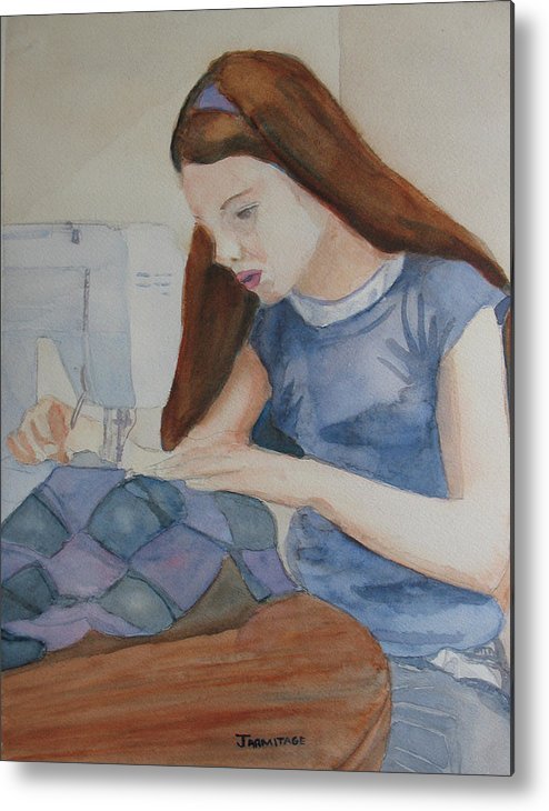 Girl Metal Print featuring the painting Her First Quilt by Jenny Armitage