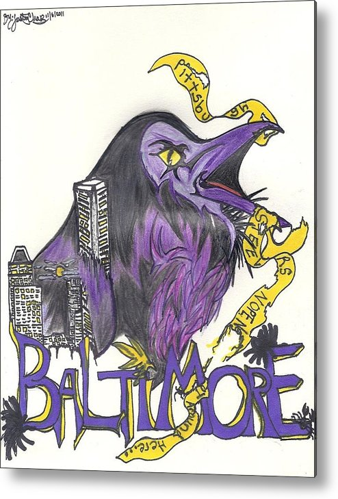 Ravens Metal Print featuring the drawing Hometeam by Justin Chase