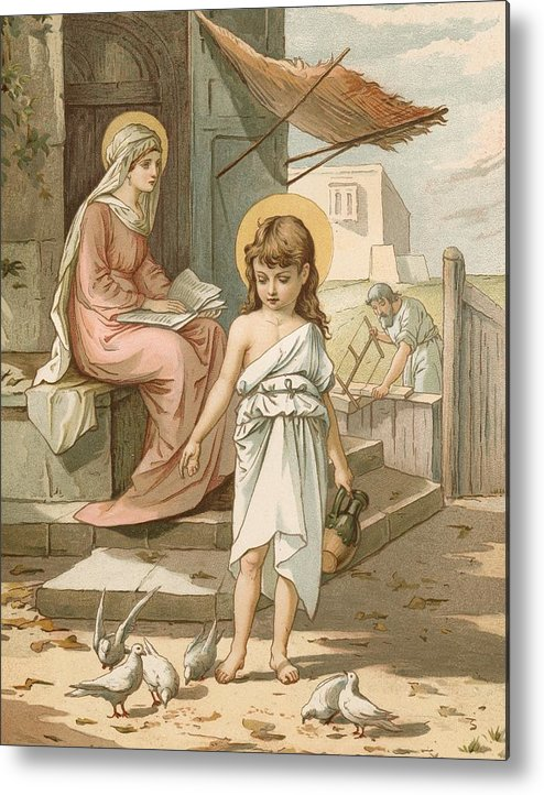 Bible; Jesus; Child; Boy; Playing; Doves; Birds; Joseph; Work; Carpenter; Carpentry; Virgin Mary; Reading; Yard; Feeding; Sentimental; Sentimentality Metal Print featuring the painting Jesus As A Boy Playing With Doves by John Lawson