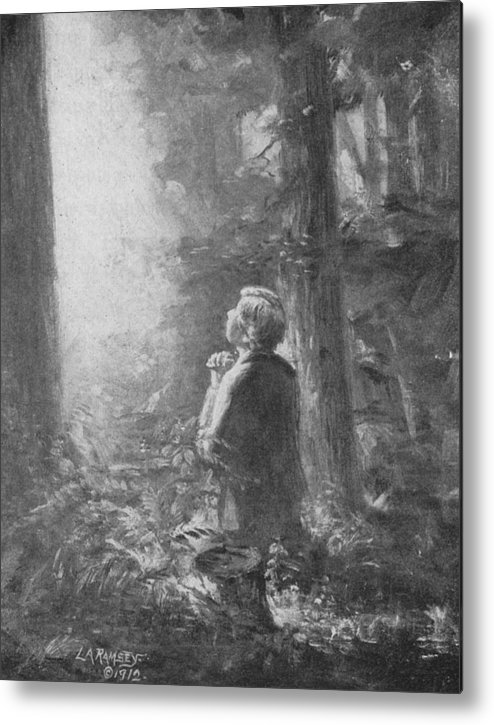 First Vision Metal Print featuring the painting Joseph Smith Praying In The Grove by Lewis A Ramsey