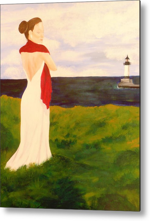 Woman Metal Print featuring the painting Lady At The Ocean by Jennifer Hernandez