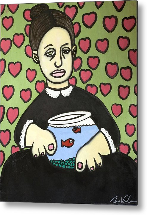 Metal Print featuring the painting Lady With Fish Bowl by Thomas Valentine