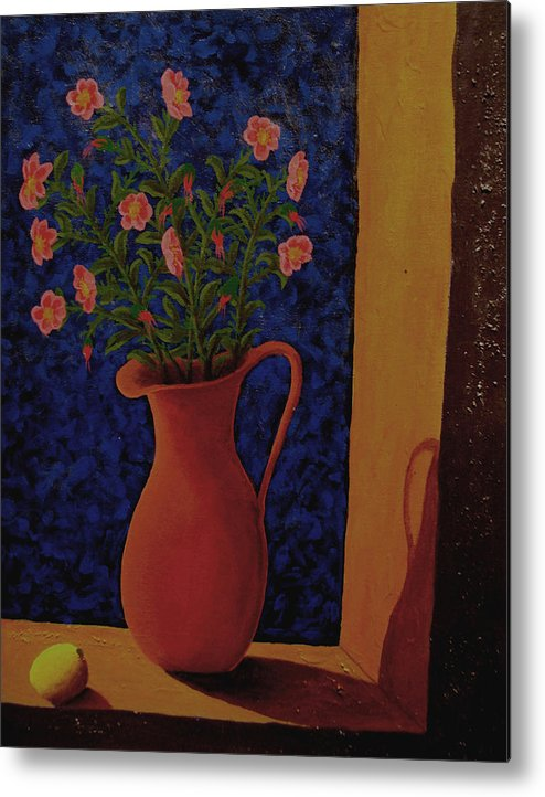Still Life Metal Print featuring the painting Lemon And Prairie Roses by Arnold Isbister