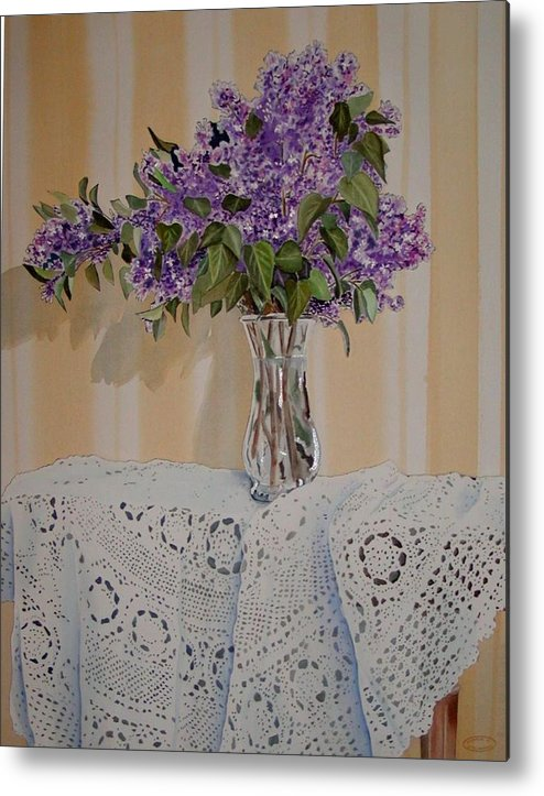 Original Watercolour Of Lilacs And Lace Metal Print featuring the painting Lilacs And Lace by Sharon Steinhaus