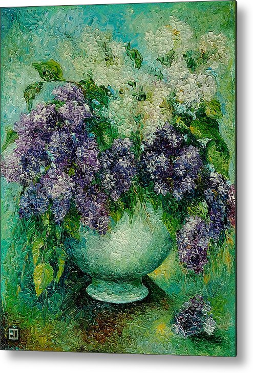 Flowers Metal Print featuring the painting Lilacs No 4. by Evgenia Davidov