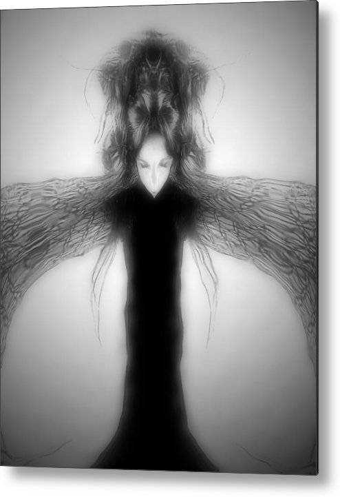 Gothic Metal Print featuring the digital art Locust Girl by Heather King