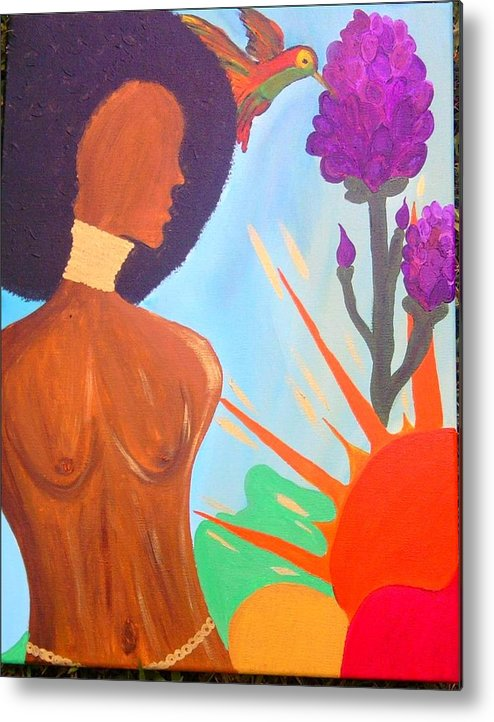 Africa Metal Print featuring the painting Nduku The Nigerian Beauty And Hummingbird by Charles Jennison