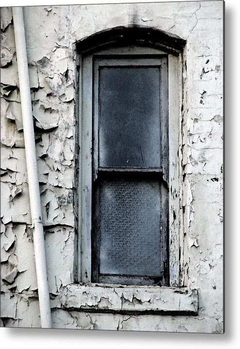 City Window White Glass Pipe Blue Blu Texture Urban Metal Print featuring the photograph No View - Riverside Window by Lawrence Costales