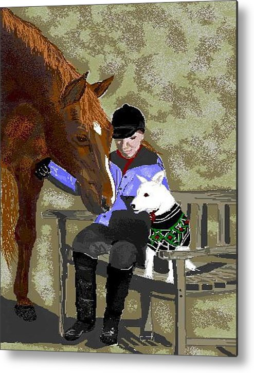 Horses Metal Print featuring the digital art Nose To Nose by Carole Boyd