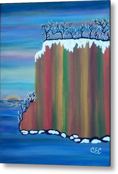 Snow Metal Print featuring the painting October Snow by Carolyn Cable