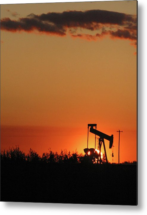 Oil Metal Print featuring the photograph Oil Pump Jack 4 by Jack Dagley
