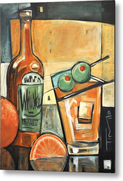 Olives Metal Print featuring the painting Old Fashioned Sweet With Olives by Tim Nyberg