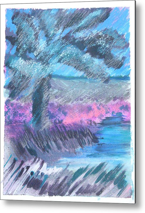 Metal Print featuring the mixed media Palm Of The Night by Judy Loper
