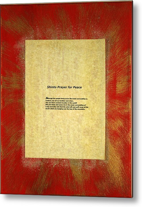 Peace Metal Print featuring the painting Peace Prayers - Shinto Prayer For Peace by Emerald GreenForest