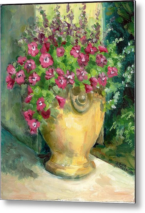 Still Life Metal Print featuring the painting Petunias by Linda Vespasian