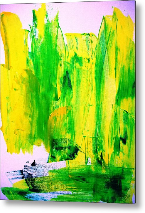 Yellow Metal Print featuring the painting Phantom Yellow Daffodil Boat by Bruce Combs - REACH BEYOND
