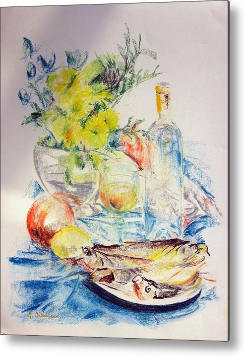 Still Life Metal Print featuring the drawing Poissons by Muriel Dolemieux