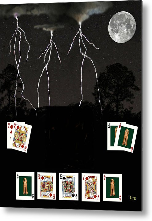 Poker Cards Metal Print featuring the mixed media Poker Cards by Eric Kempson