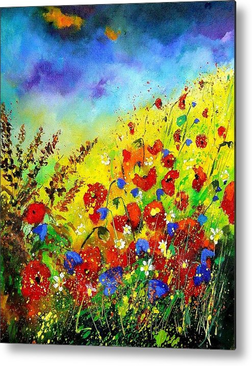 Poppies Metal Print featuring the print Poppies And Blue Bells by Pol Ledent