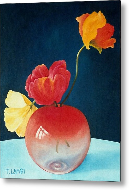 Still Life Metal Print featuring the painting Poppies by Trisha Lambi