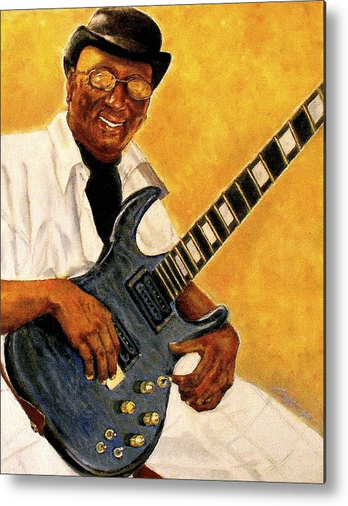 Guitarist Metal Print featuring the painting Portrait Of Mike by G Cuffia