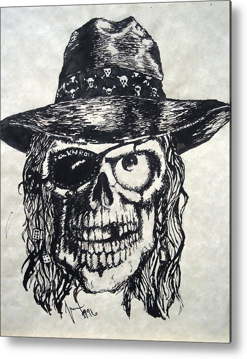 Skulls Metal Print featuring the painting Rock-n-roll Will Never Die by Marx c1670623078