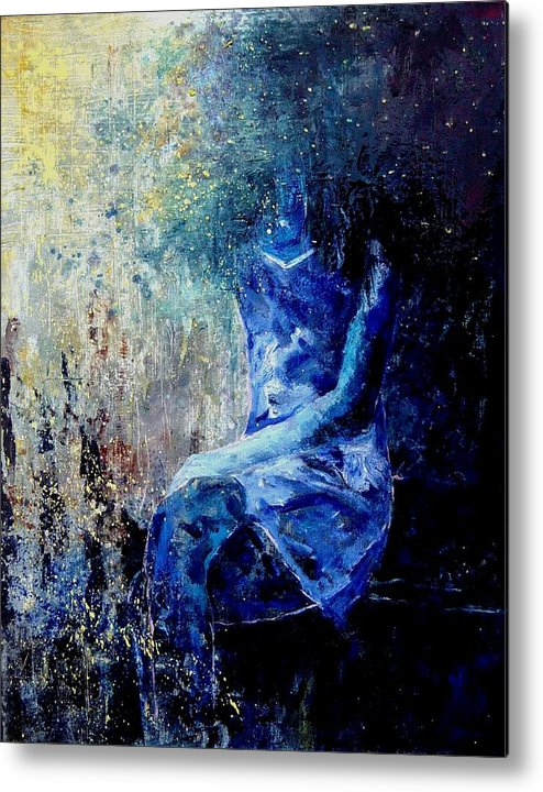 Woman Girl Fashion Metal Print featuring the painting Sitting Young Girl by Pol Ledent