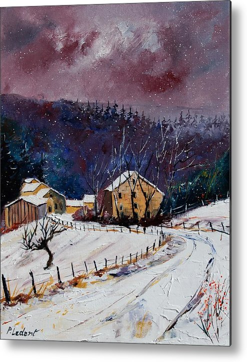 Landscape Metal Print featuring the painting Snow In Sechery by Pol Ledent