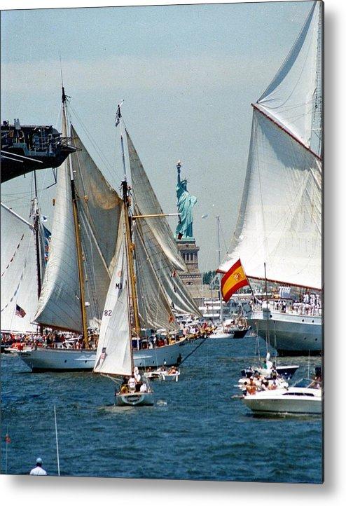 Statue Of Liberty During Op Sail 1986 Metal Print featuring the photograph Statue Of Liberty by John Ryan