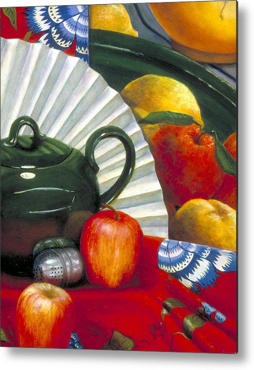 Oil Painting Metal Print featuring the painting Still Life With Citrus Still Life by Nancy Ethiel