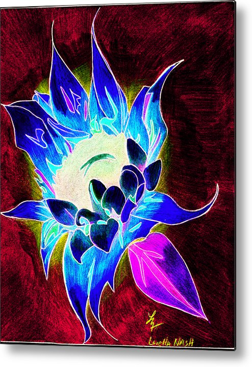 Sunflower Metal Print featuring the drawing Sunflower by Loretta Nash