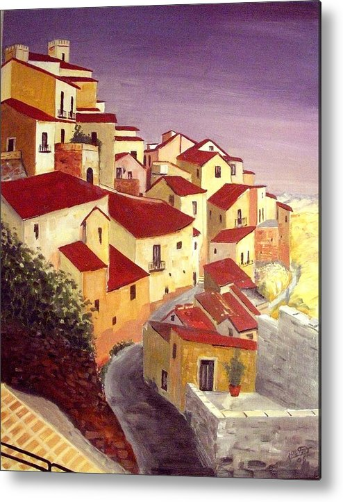 House Metal Print featuring the painting the beauty of Sicily by Anthony Meton
