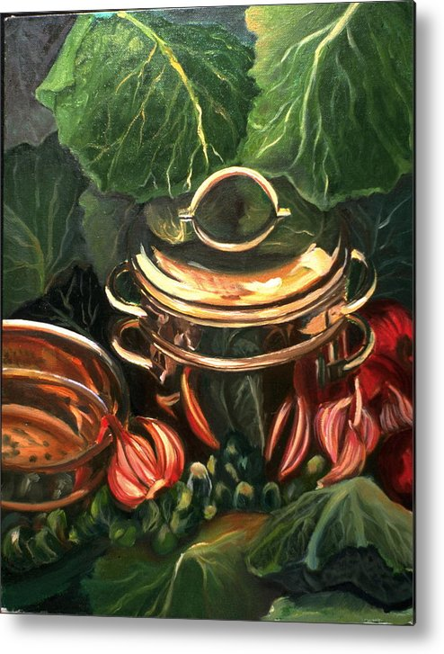 Still Life Metal Print featuring the painting The Cabbage Pot by Patricia Reed