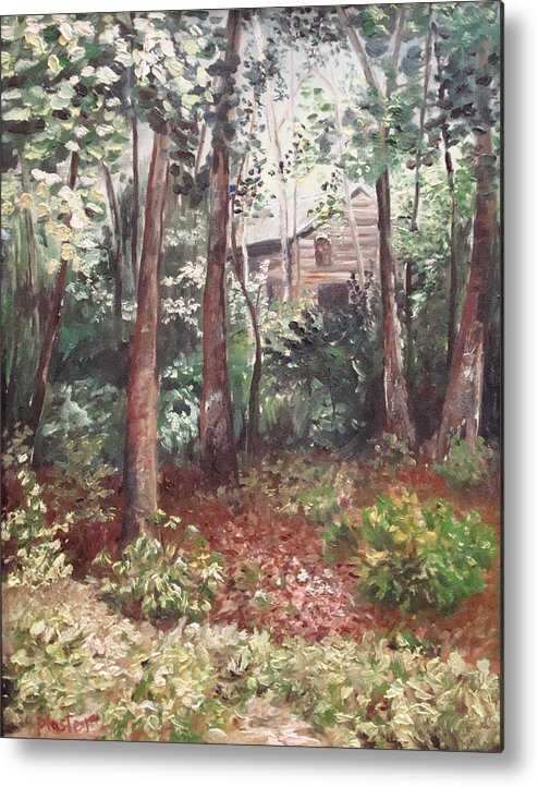 Landscape Metal Print featuring the painting Watauga Cabin by Scott Plaster