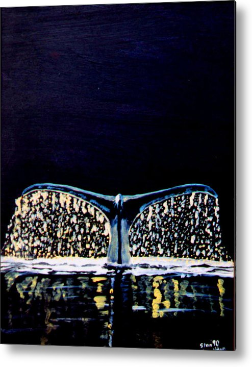 Whale Metal Print featuring the painting Whale Tail by Stan Hamilton