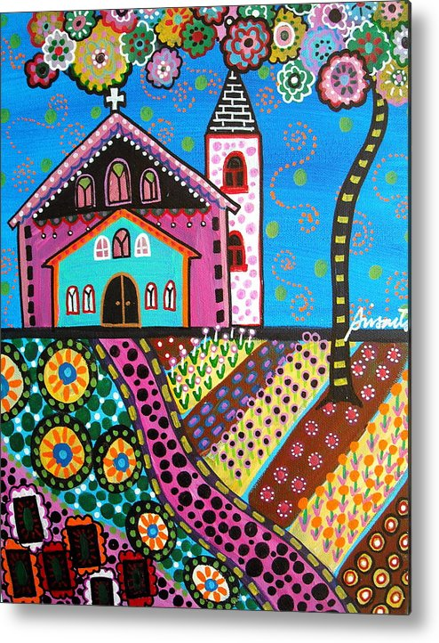 Church Metal Print featuring the painting Whimsical Church by Pristine Cartera Turkus