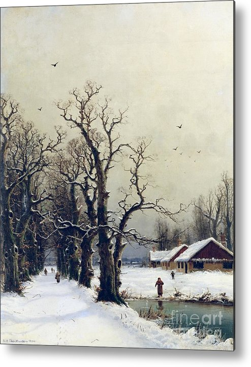 Winter Metal Print featuring the painting Winter Scene by Nils Hans Christiansen