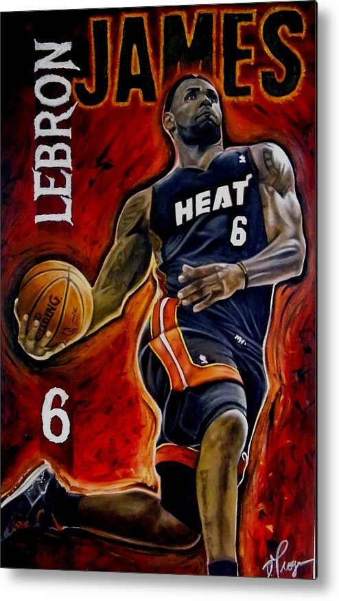 Lebron James Metal Print featuring the painting Lebron James Oil Painting-original by Dan Troyer