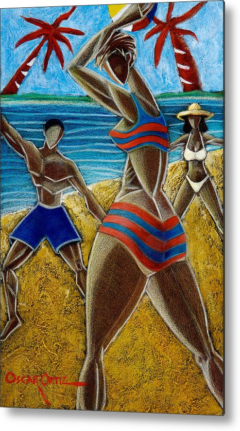 Beach Metal Print featuring the painting En Luquillo Se Goza by Oscar Ortiz