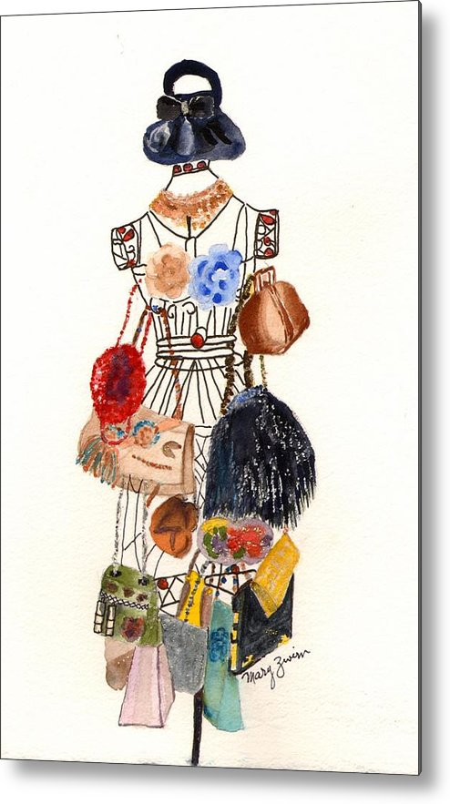 Purses Metal Print featuring the painting Purses by Mary Zwirn