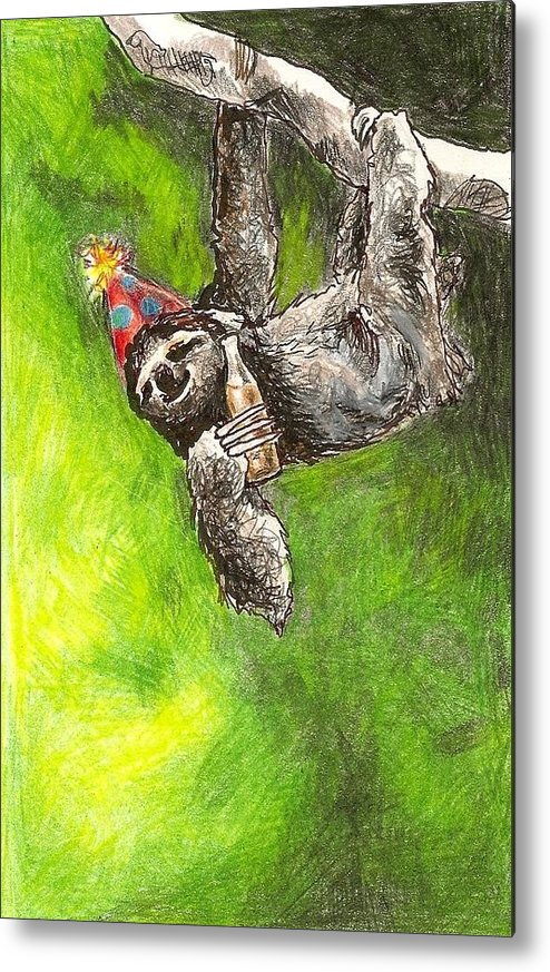 Kristen Bell Metal Print featuring the drawing Sloth Birthday Party by Steve Asbell