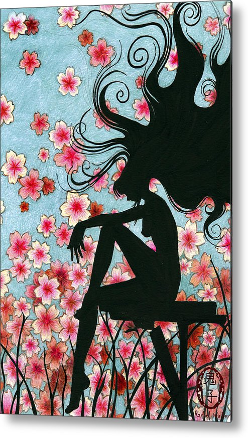 Sillouette Metal Print featuring the painting Watching The Cherry Blossoms by Rachel Walker